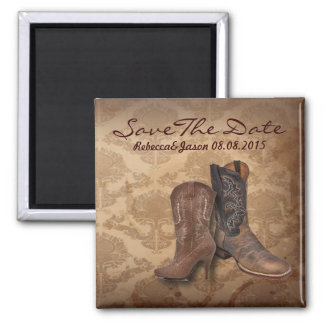 cowboy western country wedding save the date square magnet
