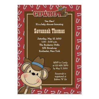 "Cowboy Western Monkey 5x7 Baby Shower Invitation 5"" X 7"" Invitation Card"