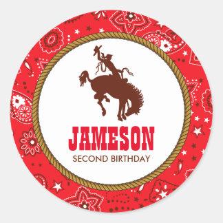 Cowboy Western Old West Birthday Baby Shower Round Sticker
