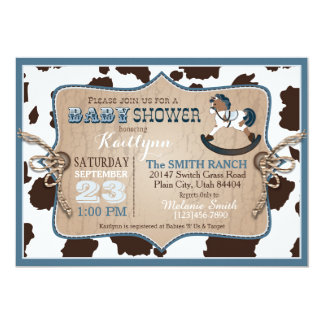 Cowboy Western Rocking Horse Baby Shower 13 Cm X 18 Cm Invitation Card