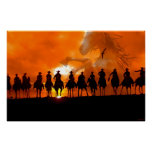 Cowboy western roundup time rodeo horse poster art