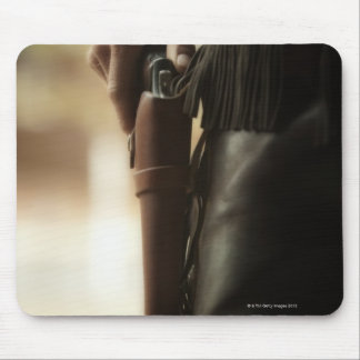 Cowboy with gun in holster mouse pad