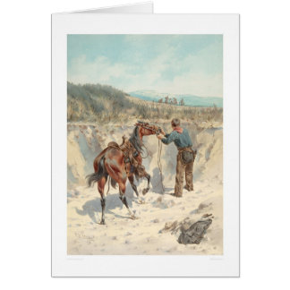 Cowboy with horse in Arroyo... (1324) Greeting Card