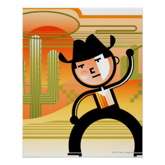 Cowboy with lasso and cactus poster