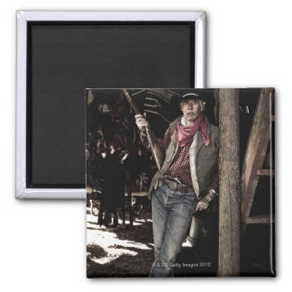 Cowboy with Pistol and Rifle Refrigerator Magnets