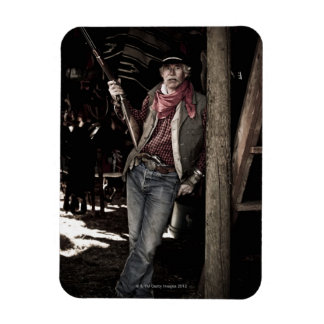 Cowboy with Pistol and Rifle Rectangular Photo Magnet