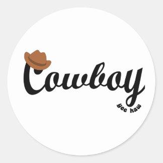 cowboy yeehaw round sticker