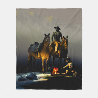 Cowboys and Horses Fleece Blanket