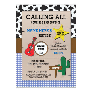 Cowboys Blue Check Birthday Sheriff Western Invite