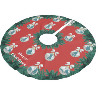 Cowboys Cowgirls Roping in Blue Holiday Tree Skirt