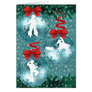 Cowboys Cowgirls Roping On Blue Holiday Card