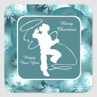 Cowboys Cowgirls Roping On Blue Holiday Stickers