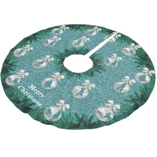Cowboys Cowgirls Roping On Blue Holiday Tree Skirt