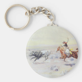 Cowboys from the Bar Triangle by CM Russell Basic Round Button Key Ring