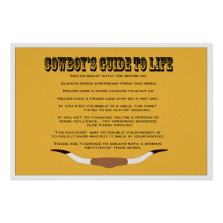 Cowboy's Guide to Life Poster