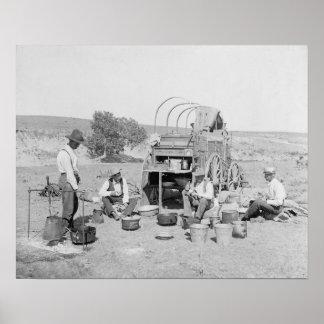 Cowboys Making Camp, 1901. Vintage Photo Poster