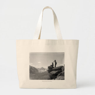 Cowboys on a ridge large tote bag