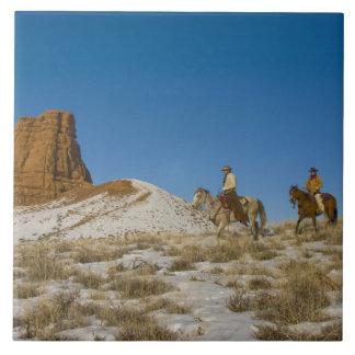 Cowboys on Ridge riding Horse through the Snow Large Square Tile