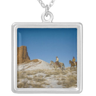 Cowboys on Ridge riding Horse through the Snow Square Pendant Necklace