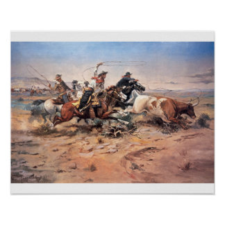 Cowboys roping a steer, 1897 (oil on canvas) posters