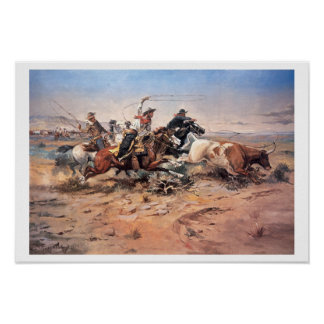 Cowboys roping a steer, 1897 (oil on canvas) poster