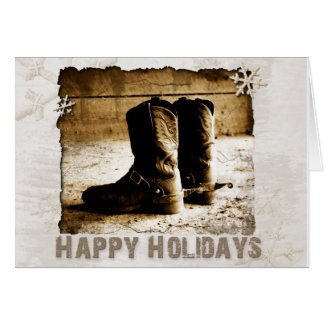 Cowboy's Rustic Boots Christmas Greeting Holiday Card