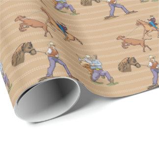 Cowboys Western  Horses Steer Tan Gift Wrap