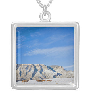 Cowboys with Heard of Horses Square Pendant Necklace