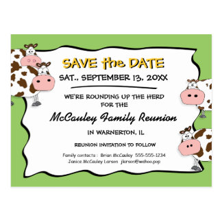 Cowdacious Apple Green Fam Reunion Save the Date Postcards