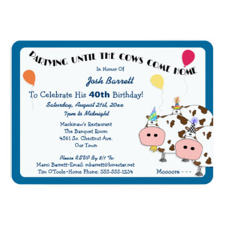 Cowdacious Rounded Cut Birthday Party Custom Invite