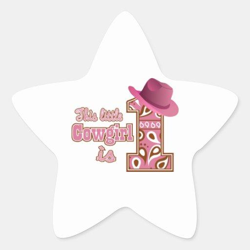 Cowgirl 1st Birthday Star Stickers