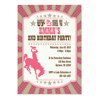 Cowgirl 2nd Birthday Party Girl Invitation