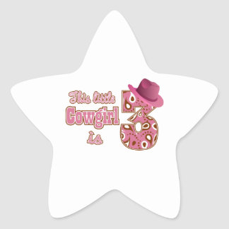 Cowgirl 3rd Birthday Star Sticker