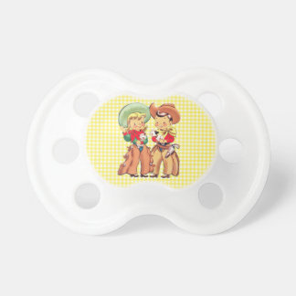 Cowgirl And Cowgirl Kids  Yellow Check Background Baby Pacifiers