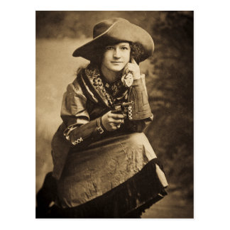 Cowgirl and Her Six Shooter Vintage Postcard