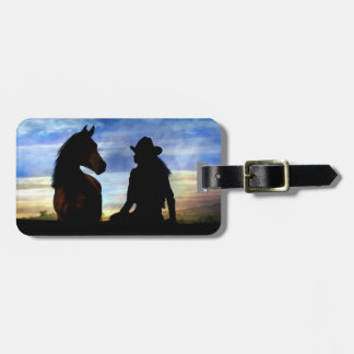 Cowgirl and Horse Luggage Tag
