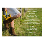 Cowgirl and Sunflowers Country Bridal Shower Custom Announcements