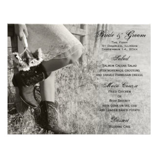 Cowgirl and Sunflowers Country Wedding Menu 21.5 Cm X 28 Cm Flyer