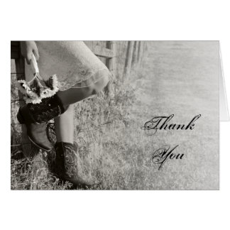 Cowgirl and Sunflowers Country Wedding Thank You Card