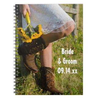 Cowgirl and Sunflowers Country Western Wedding Notebooks
