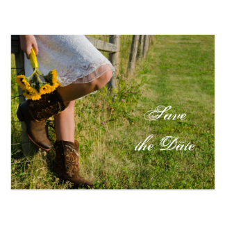 Cowgirl and Sunflowers Wedding Save the Date Post Card