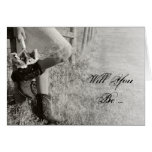 Cowgirl and Sunflowers Will You Be My Bridesmaid Greeting Cards