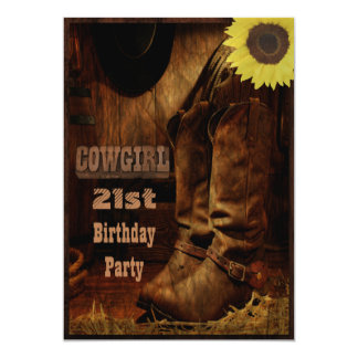 Cowgirl Any Age Birthday Rustic Country Western 13 Cm X 18 Cm Invitation Card