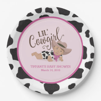 Cowgirl Baby Shower Personalized Plate Medium Skin 9 Inch Paper Plate