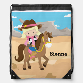 Cowgirl Drawstring Backpack