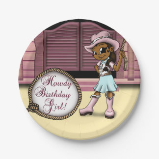 """""""Cowgirl Birthday Paper Plates 7"""" 7 Inch Paper Plate"""