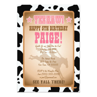"Cowgirl Birthday Party Invitation 5"" X 7"" Invitation Card"