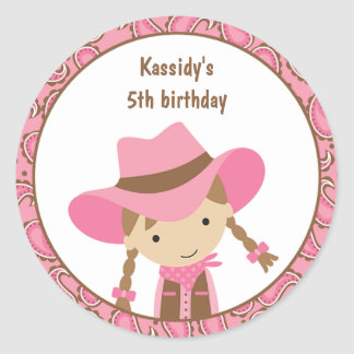 Cowgirl Birthday Stickers