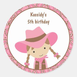 Cowgirl Birthday Stickers Round Sticker