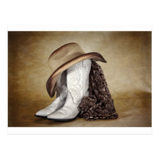 Cowgirl Boot Western Lace Hat Post Cards
